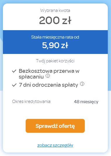 Fot. Screen / wonga.pl (kalkulacja z dnia 21.07.2021)